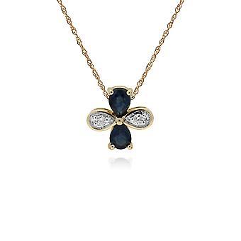Gemondo 9ct Yellow Gold Sapphire & Diamond Floral Pendant on 45cm Chain