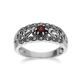 Gemondo srebro granat idealna markazytu Art Nouveau pierścień