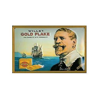 Wills Gold Flake Francis Drake Embossed Steel Sign