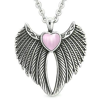 Angel Wings Magic Heart Protection Powers Amulet Sweet Pink Simulated Cats Eye Pendant Necklace