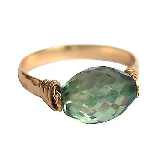 Gemshine - vrouwen - ring - pull-ring - gold plated - Amethyst - groen