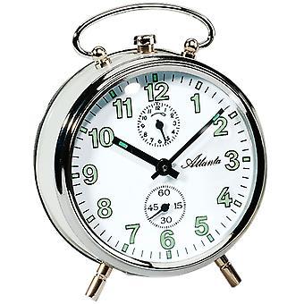 アトランタ 1065/0 機械機械式アラーム時計白銀のラウンドします。
