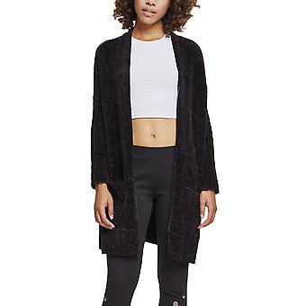 Urban classics ladies - oversize chenille Cardigan black