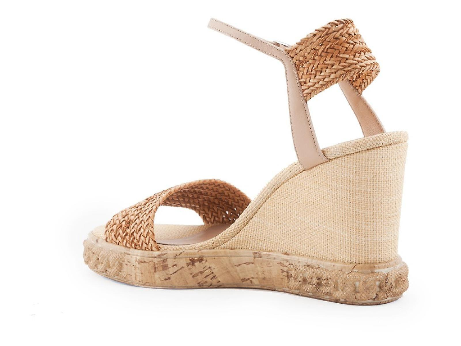 Casadei high heels wedges sandals in leather and straw