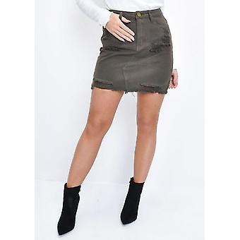 Ripped Denim Mini Skirt Khaki Green