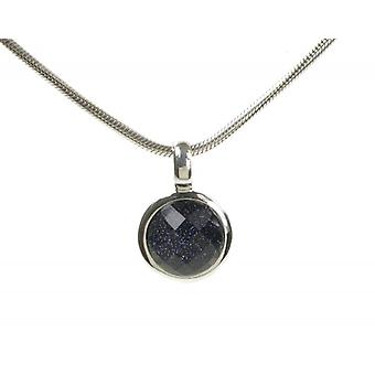 Cavendish French Blue Sandstone Silver Surround Round Pendant without Chain