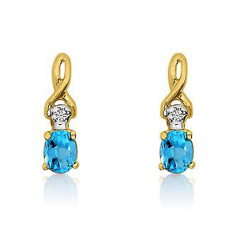 14k geel gouden ovale blauwe topaas en Diamond Earrings