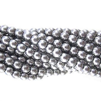 Tråd 62 + lys sølv hematitt (ikke magnetisk) 6mm vanlig runde perler GS9618-3