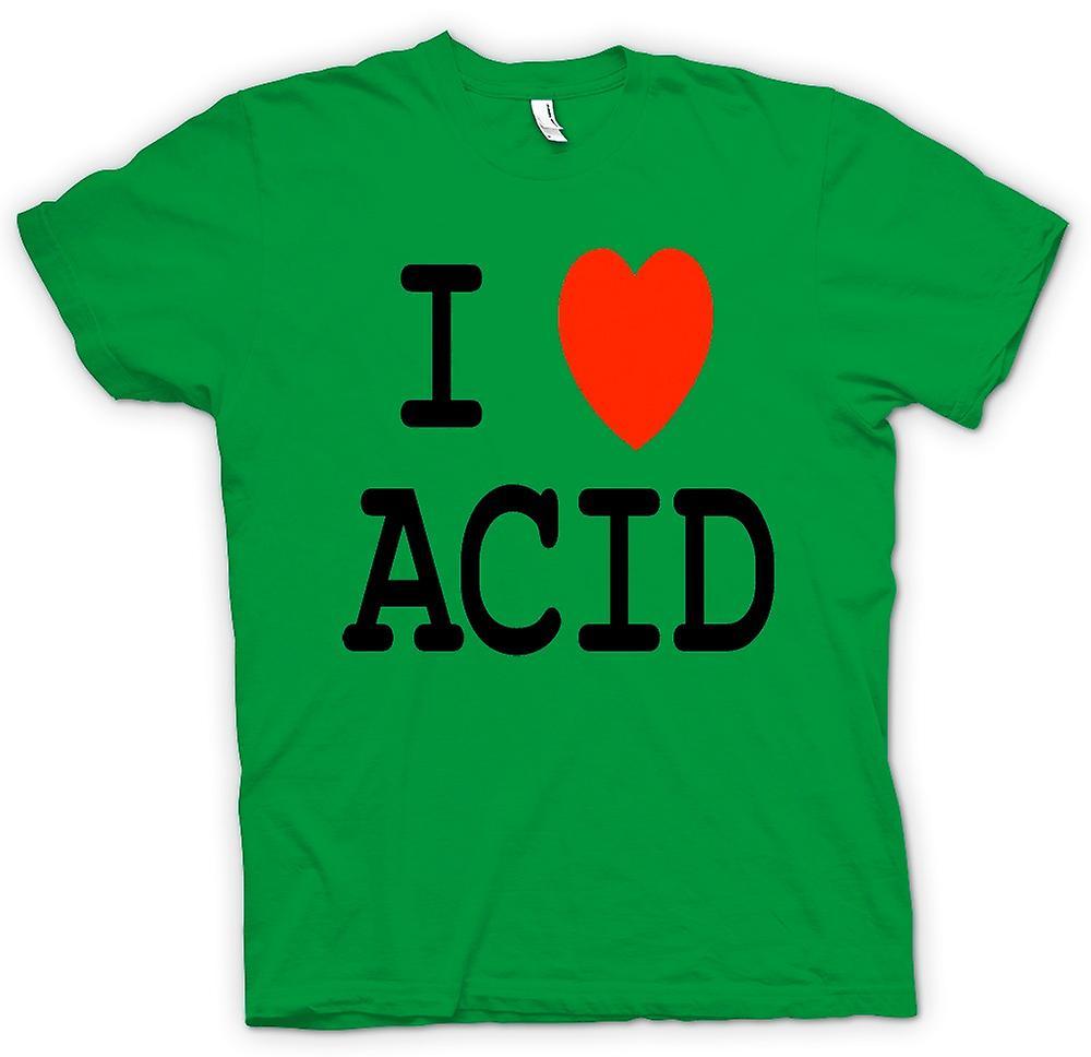 Mens T-shirt - I Love Heart Acid - Funny