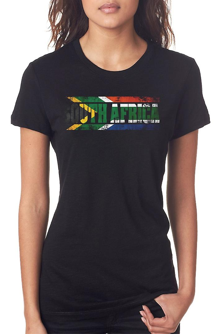 South African South Africa Flag - Words Ladies T Shirt