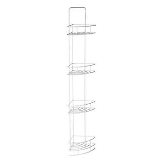 4 Tier White Corner Storage Caddy Metal With Vinyl Coating  H87 x W14 x D14cm