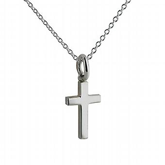 Silver 15x9mm plain solid block Cross with a rolo Chain 24 inches