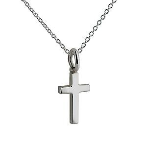 Silver 15x9mm plain solid block Cross with a rolo Chain 14 inches Only Suitable for Children