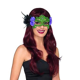 Womens zwart & groen geborduurd Lace filigraan heks Eyemask Fancy Dress accessoire