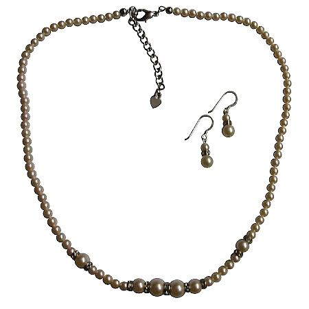 Dainty Tiny Ivory Pearls Necklace Set w/ Silver Rondells Spacer