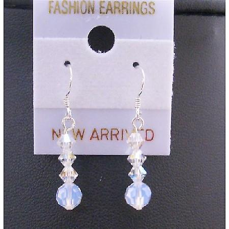 White Opal Round Crystals AB Swarovski Sterling Silver Hook Earrings