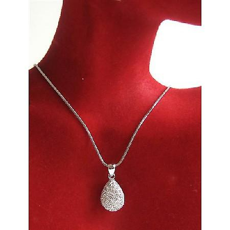 Pear Pendant Necklace Fully Embedded w/ Cubiz Zirconia Necklace