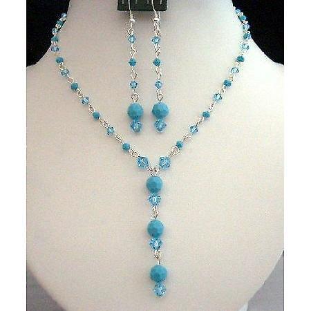 Swarovski Aquamarine Turquoise Crystals Y Necklace Set Custom jewelry
