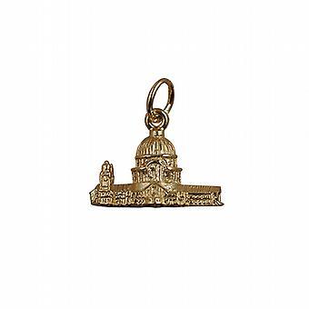 9kt guld 11x17mm hule St. Paul's Cathedral vedhæng eller charme