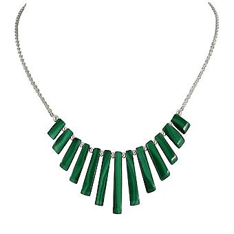 Eternal Collection Idaho Green Malachite Graduated Fan Sterling Silver Necklace