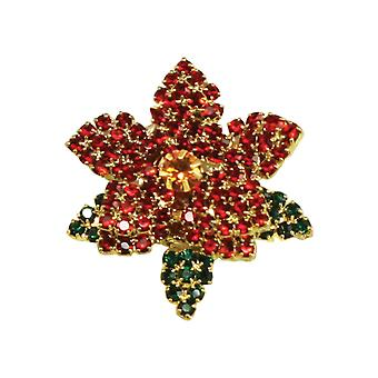 Eternal Collection Poinsettia Red And Emerald Green Crystal Costume Brooch