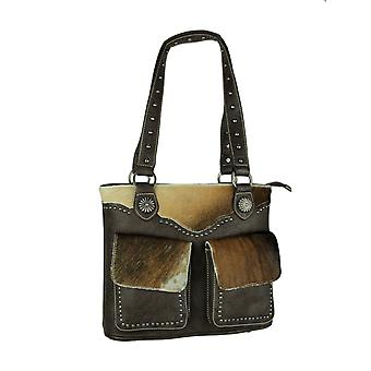 Montana West Trinity Ranch Hair-On Leather Trim Shoulder Tote Bag