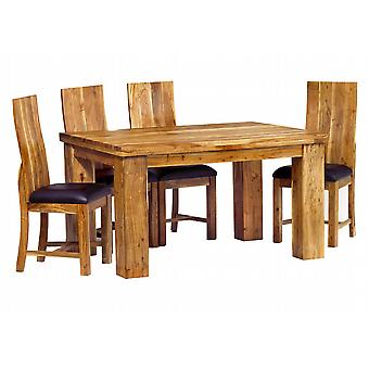 Stone Acacia 140cm Dining Table Set with 4 Chairs
