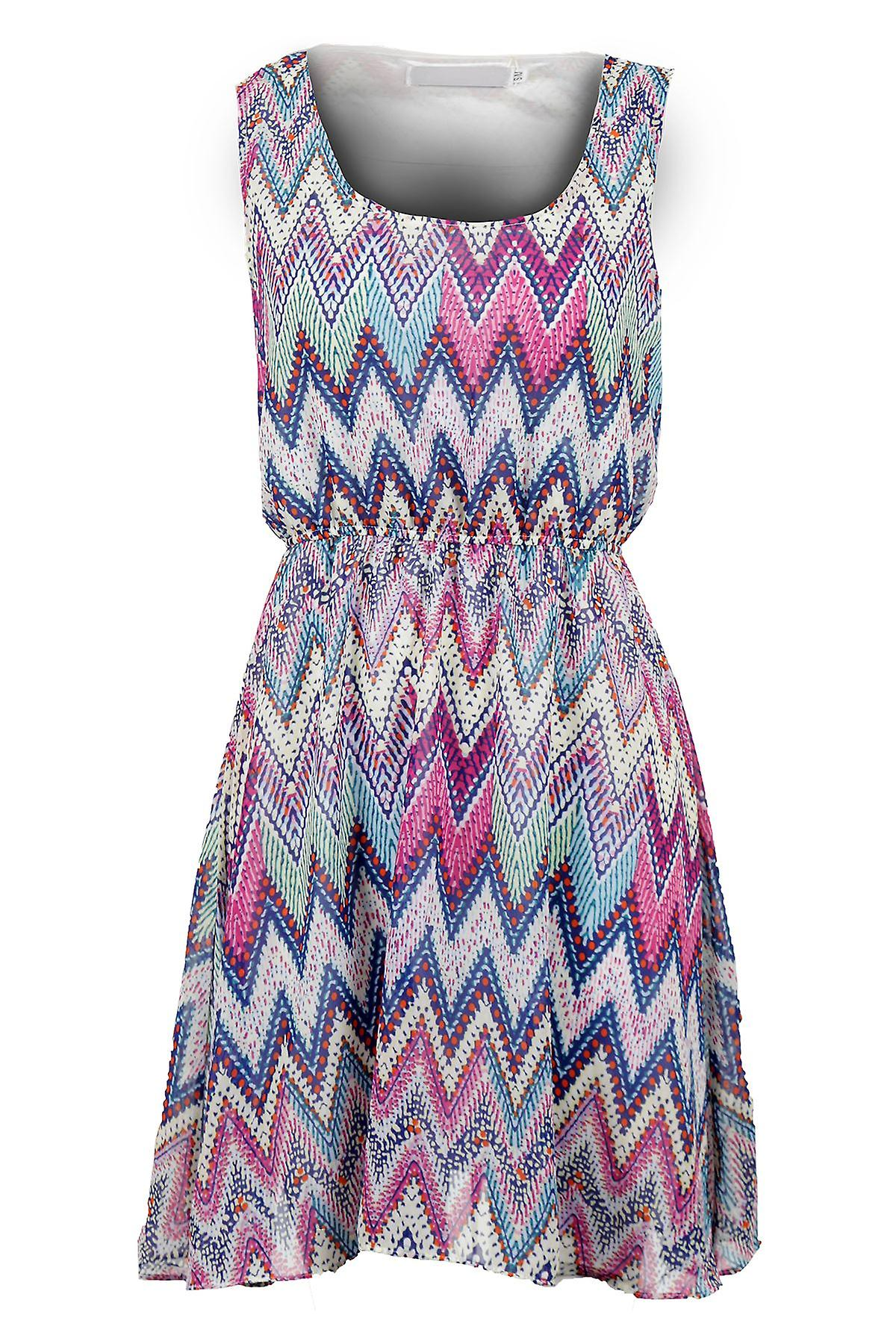 Ladies Sleeveless Zigzag Print Chiffon Tie Back Lined Skater Women's Short Dress