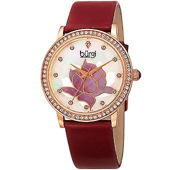 Burgi Women's BUR159 Swarovski Crystal Bezel Mother of Pearl Flower Watch BUR159RD