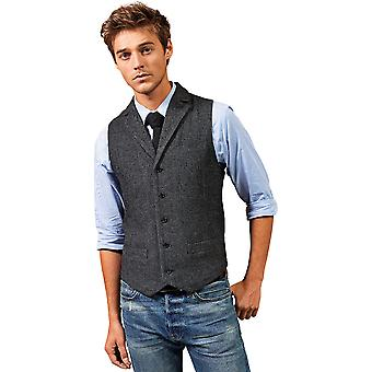 Premier Mens Herringbone Wool Blend 5 Button Work Waistcoat