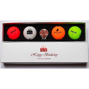 Volvik Vivid Happy Birthday Pack Golf Balls (4 Balls) & Hat Clip