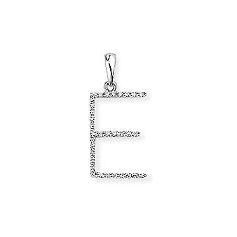 Jewelco London 18ct White Gold Pave Diamond Initial Charm Pendant Letter E 10mm x 19mm