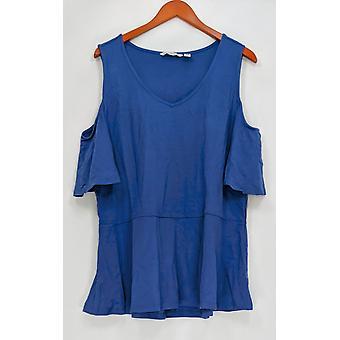Isaac Mizrahi Live! Vrouwen ' s top koude schouder peplum blauw A303176
