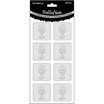 Wedding Foiled Seals 20 Pkg Champagne Glasses Silver Bws74