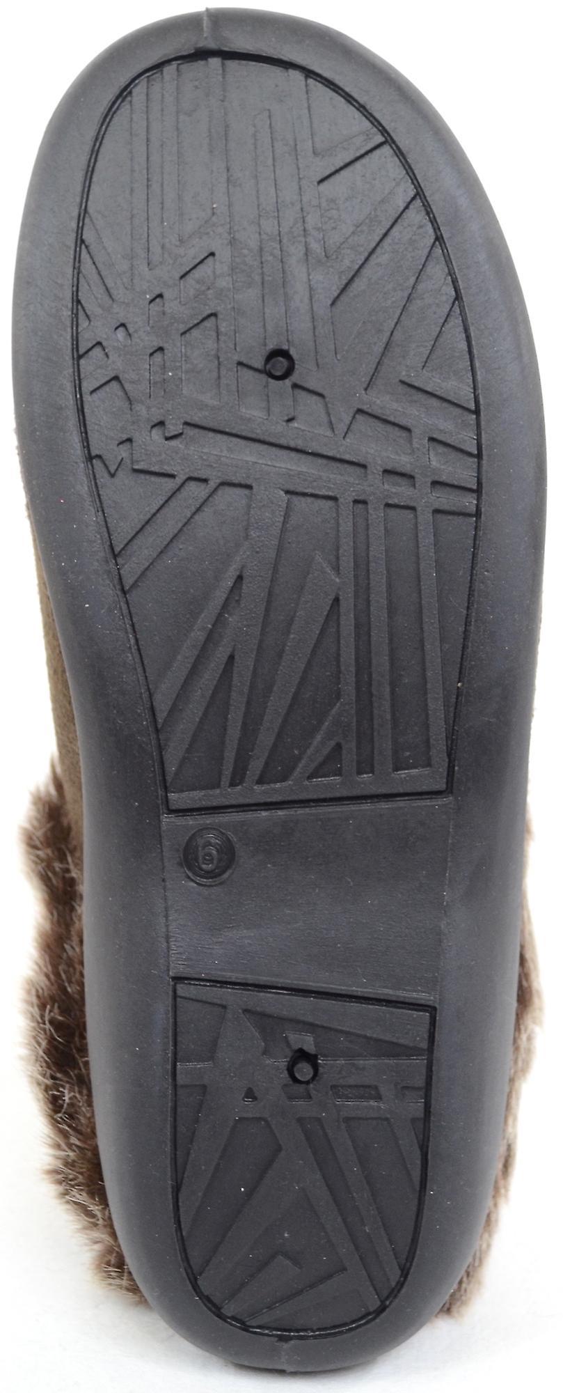 Ladies / Womens Floral Design Mule / Slippers with Faux Fur Trim  - Brown - UK 8