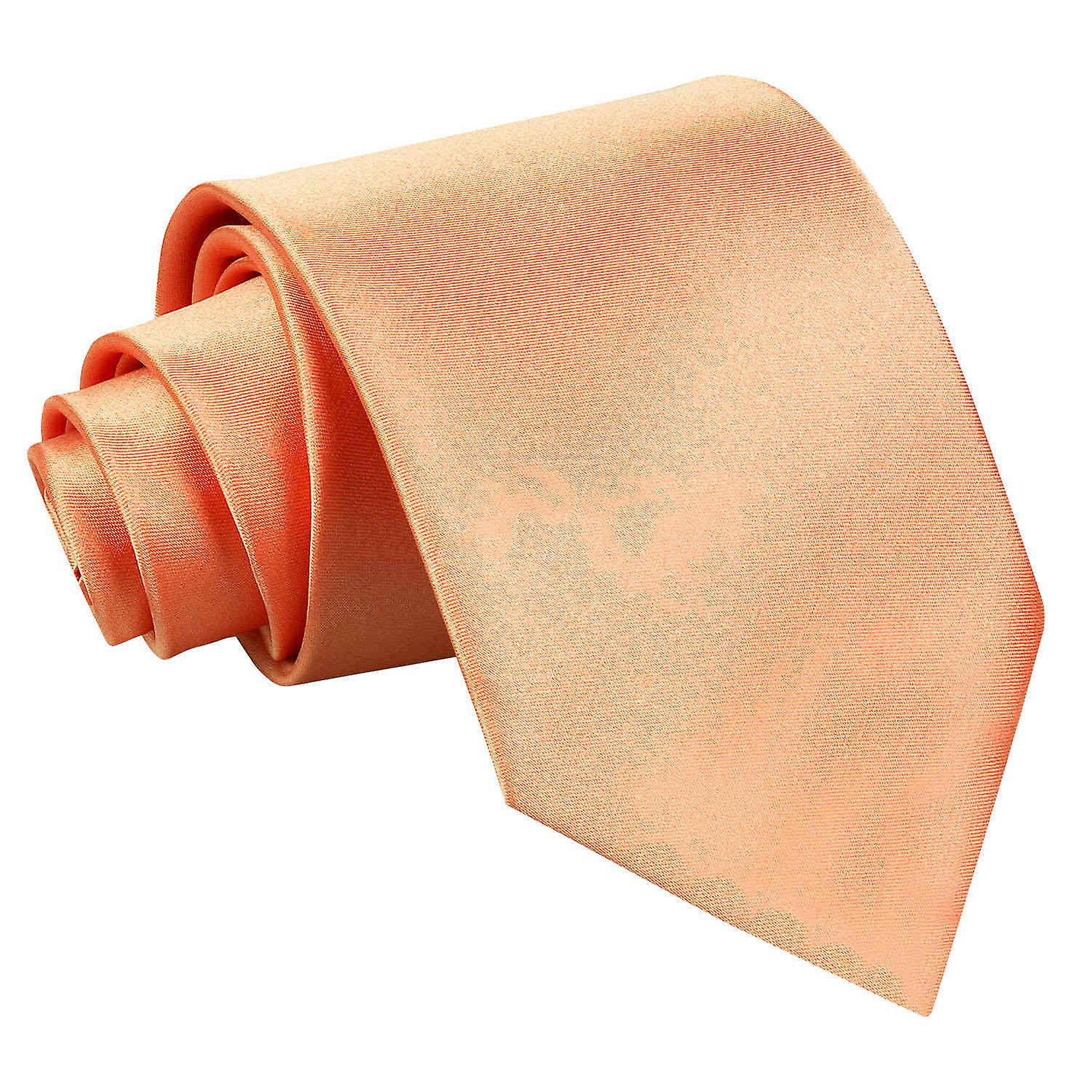 Plain Coral Satin Extra Long Tie