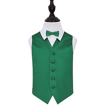 Boy's Emerald Green Plain Satin Wedding Waistcoat & Bow Tie Set
