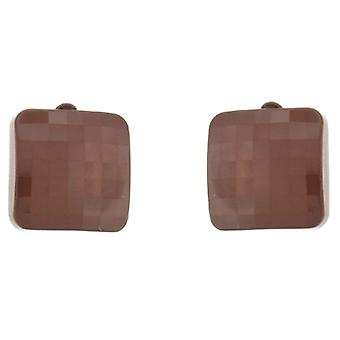 Clip On Earrings Store Milk Chocolate Square Button Facet Clip On Earrings