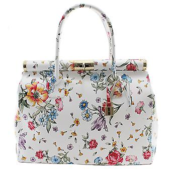 CTM women's genuine leather handbag made in Italy with floral design and inner shoulder strap