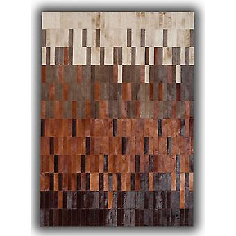 Rugs - Patchwork Leather Strips Cowhide - Degradada Tan