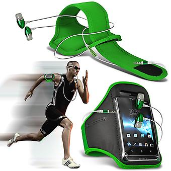 ( Green + Earphones) BLACKVIEW E7 case High Quality Fitted Sports Armbands Cover By i-Tronixs