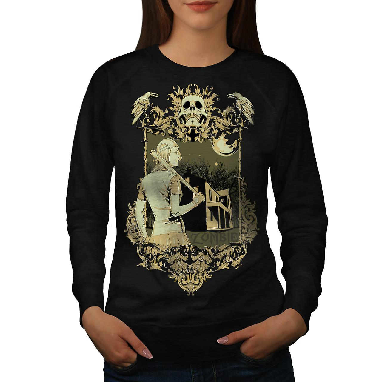 Zombie Baseball Girl Sport Bite Women Black Sweatshirt | Wellcoda