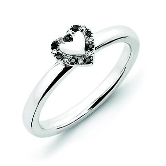 Sterling Silver Stackable Expressions Heart With Black and White Dia. Ring - Ring Size: 5 to 10