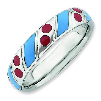 Sterling Silver Stackable Expressions Polished Blue Red Enameled Ring - Ring Size: 5 to 10