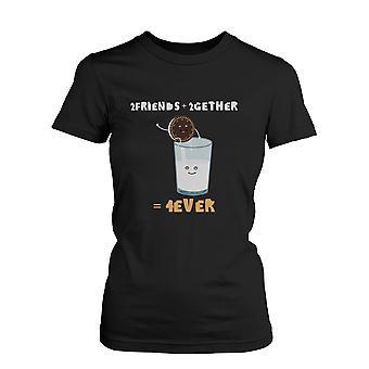 2 Freunde 2gether 4ever Oreo und Milch schwarz Damen Shirt Damen Grafik lustige Shirts