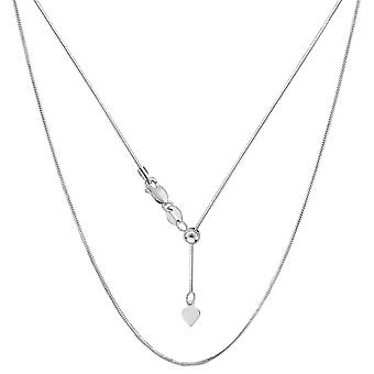 14k White Gold Adjustable Octagonal Snake Chain Necklace, 0.85mm, 22