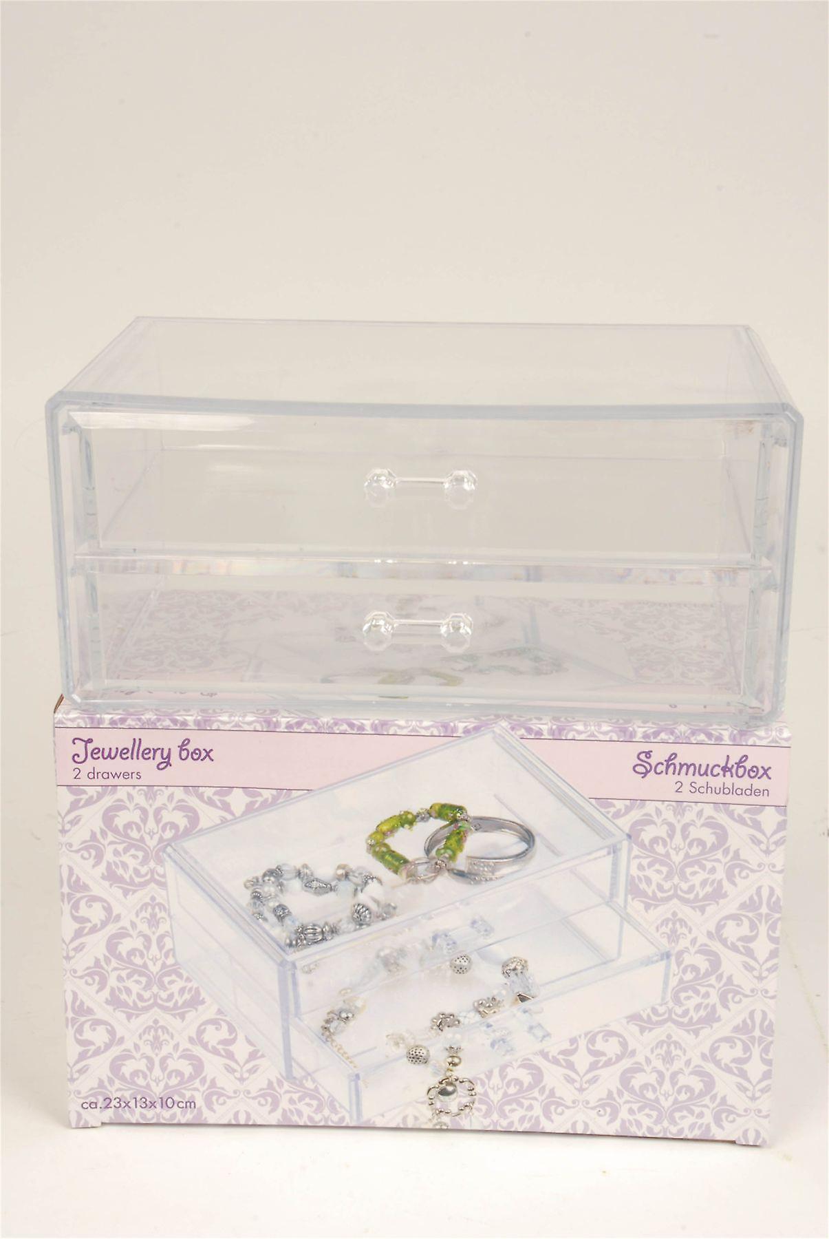 2 skuff smykker oppbevaringsboks laget av klar plast