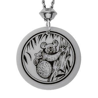 Colgante hecha a mano Koala Totem redondo en forma de porcelana ~ cadena de 22 pulgadas