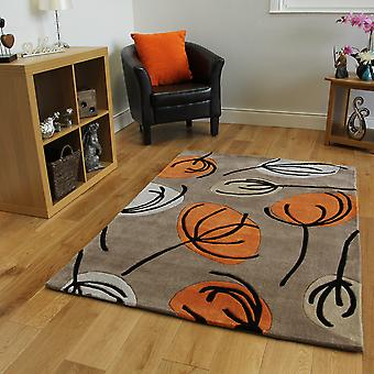 Orange & Beige Floral Modern Rug Atlanta