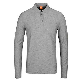 BOSS Orange Pulse Grey Slub Cotton Long Sleeve Polo Shirt
